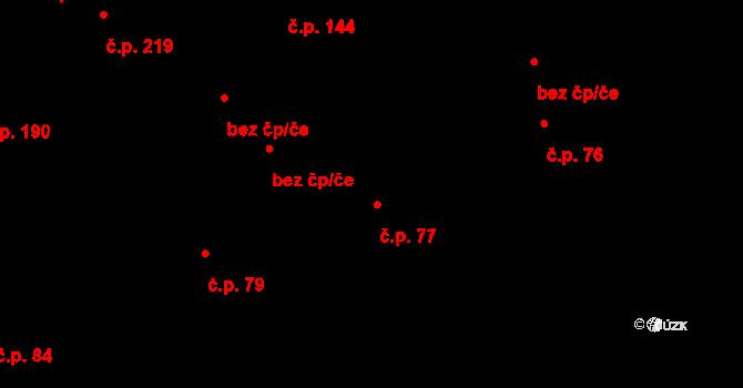 Lety 77 na parcele st. 147 v KÚ Lety u Dobřichovic, Katastrální mapa