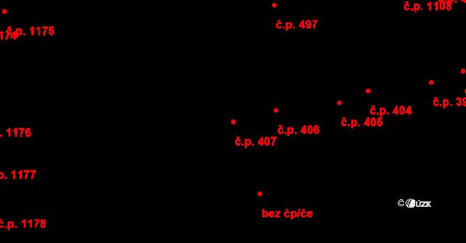 Svítkov 407, Pardubice na parcele st. 415/3 v KÚ Svítkov, Katastrální mapa