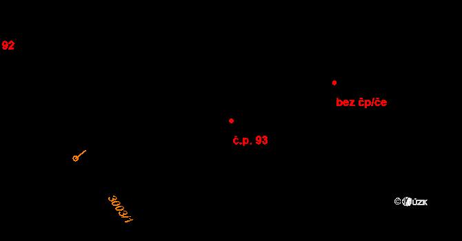 Janov 93 na parcele st. 93 v KÚ Janov u Litomyšle, Katastrální mapa