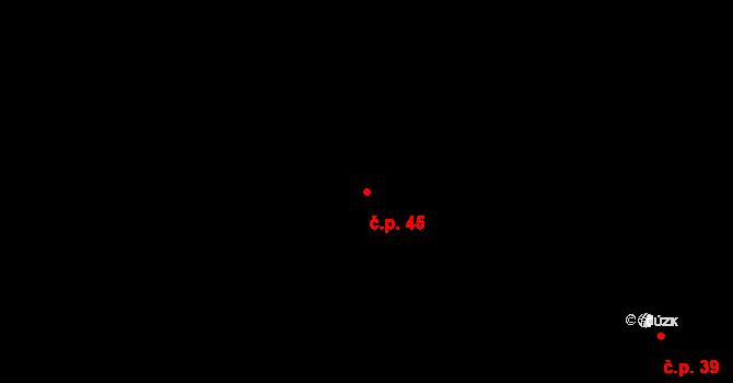 Stránka 45 na parcele st. 33 v KÚ Stránka u Mšena, Katastrální mapa