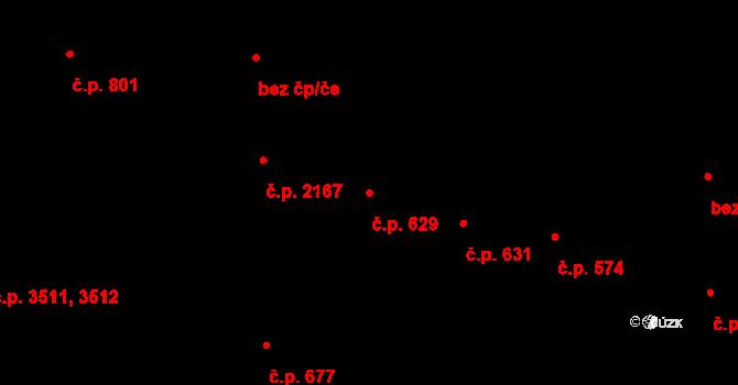 Jablonec nad Nisou 629 na parcele st. 309/2 v KÚ Jablonec nad Nisou, Katastrální mapa