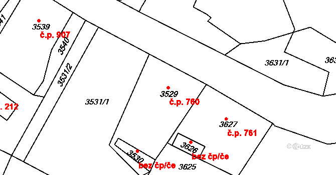 Smržovka 760 na parcele st. 3529 v KÚ Smržovka, Katastrální mapa
