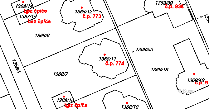 Černice 774, Plzeň na parcele st. 1368/11 v KÚ Bručná, Katastrální mapa