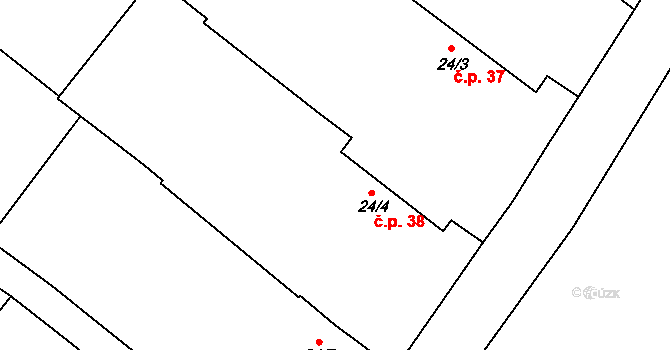 Lhota pod Horami 38, Temelín na parcele st. 24/4 v KÚ Lhota pod Horami, Katastrální mapa