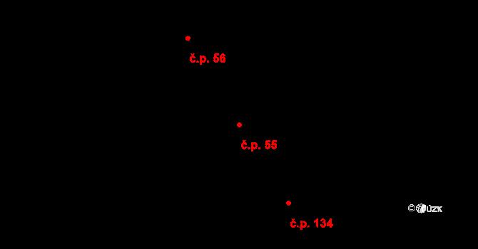 Malé Březno 55 na parcele st. 165 v KÚ Malé Březno nad Labem, Katastrální mapa