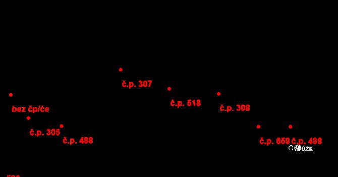 Lysá nad Labem 518 na parcele st. 608 v KÚ Lysá nad Labem, Katastrální mapa