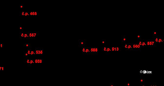 Újezd u Brna 588 na parcele st. 740 v KÚ Újezd u Brna, Katastrální mapa
