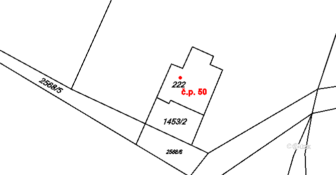 Nepomuky 50, Horní Čermná na parcele st. 222 v KÚ Nepomuky, Katastrální mapa