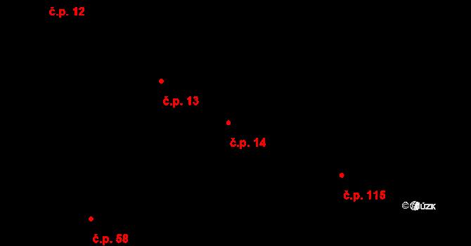 Bohaté Málkovice 14 na parcele st. 70 v KÚ Bohaté Málkovice, Katastrální mapa