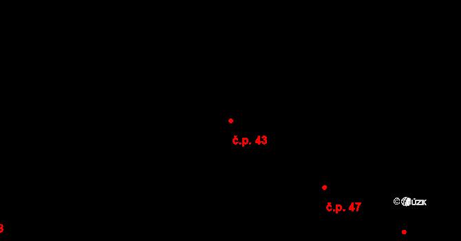 Malé Březno 43 na parcele st. 8 v KÚ Malé Březno, Katastrální mapa