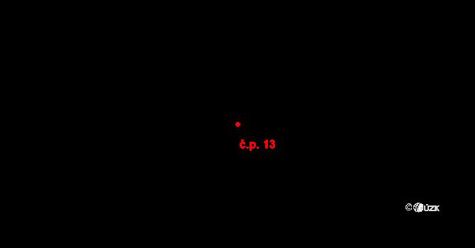 Bzí 13, Letiny na parcele st. 19 v KÚ Bzí, Katastrální mapa