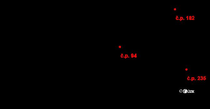 Bílý Potok 94 na parcele st. 190 v KÚ Bílý Potok pod Smrkem, Katastrální mapa