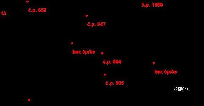 Malenovice 504, Zlín na parcele st. 605 v KÚ Malenovice u Zlína, Katastrální mapa