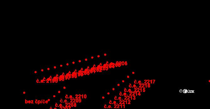 Jirkov 2206 na parcele st. 836/14 v KÚ Jirkov, Katastrální mapa