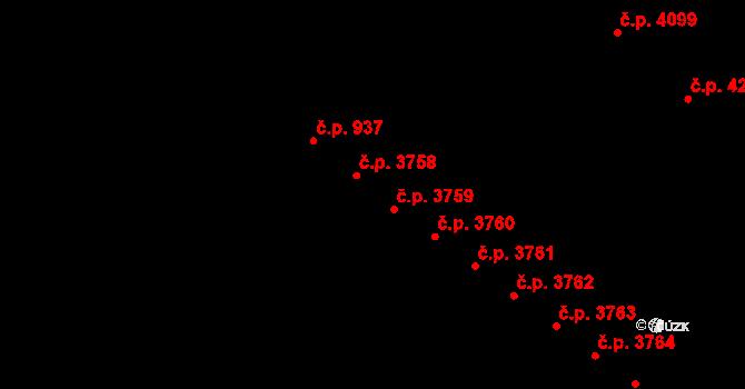Jihlava 3758 na parcele st. 5408/12 v KÚ Jihlava, Katastrální mapa