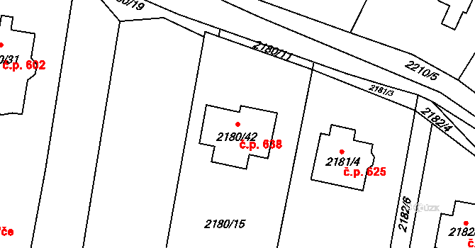 Velká Bíteš 638 na parcele st. 2180/42 v KÚ Velká Bíteš, Katastrální mapa