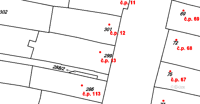 Dobré Pole 13 na parcele st. 299 v KÚ Dobré Pole, Katastrální mapa