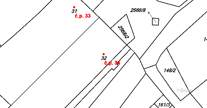 Sedlejov 34 na parcele st. 32 v KÚ Sedlejov, Katastrální mapa