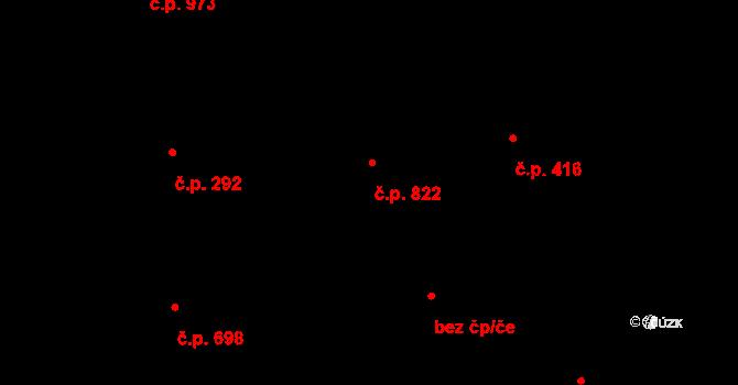 Modřany 822, Praha na parcele st. 782 v KÚ Modřany, Katastrální mapa