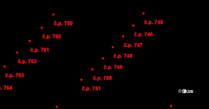 Skuteč 748 na parcele st. 1287 v KÚ Skuteč, Katastrální mapa