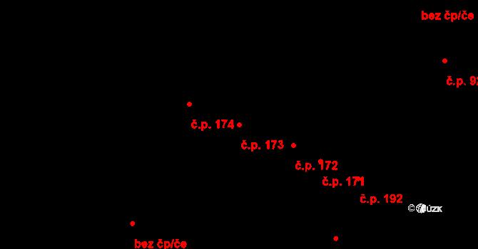 Řevničov 173 na parcele st. 215 v KÚ Řevničov, Katastrální mapa