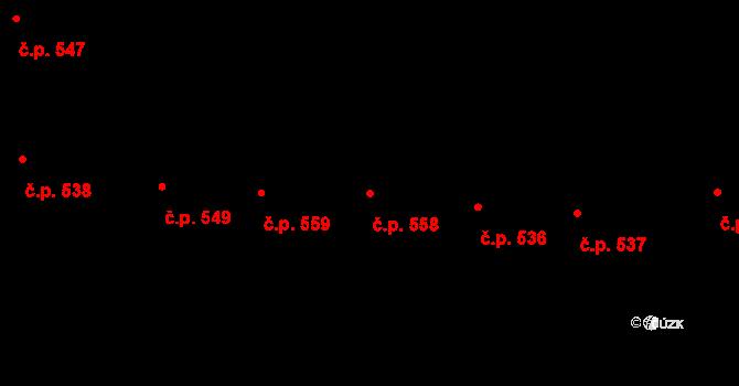 Vršovice 558, Praha na parcele st. 435 v KÚ Vršovice, Katastrální mapa