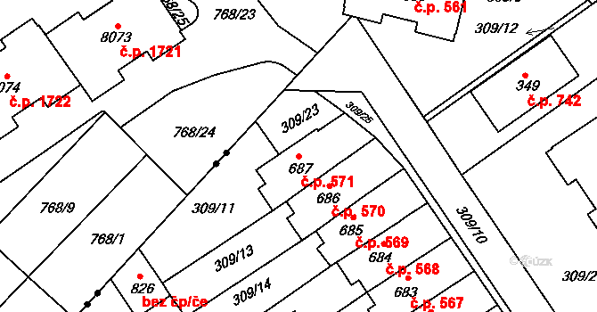 Studánka 571, Pardubice na parcele st. 687 v KÚ Studánka, Katastrální mapa