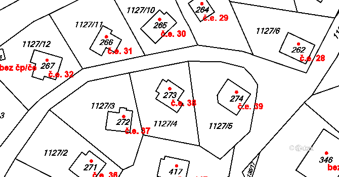 Lhota Veselka 38, Postupice na parcele st. 273 v KÚ Postupice, Katastrální mapa