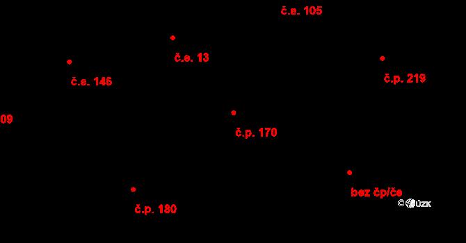 Davle 170 na parcele st. 497 v KÚ Davle, Katastrální mapa