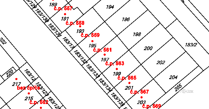 Lednice 563 na parcele st. 197 v KÚ Lednice na Moravě, Katastrální mapa