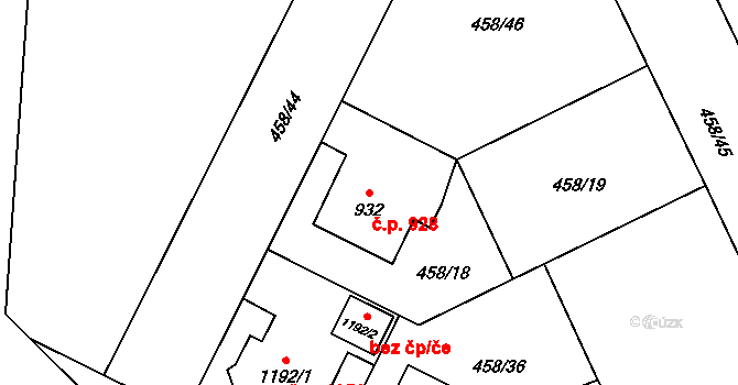 Zábřeh 928, Ostrava na parcele st. 932 v KÚ Zábřeh nad Odrou, Katastrální mapa