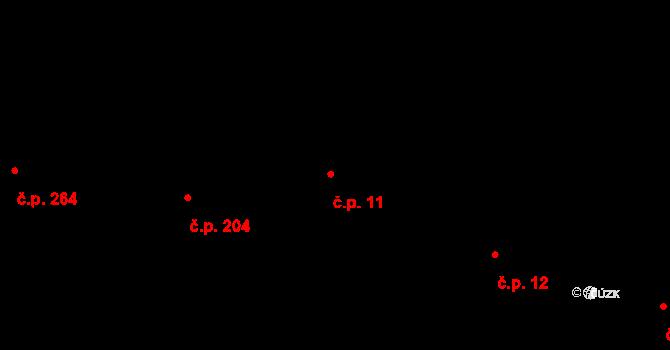 Kamenný Újezd 11 na parcele st. 12 v KÚ Kamenný Újezd u Rokycan, Katastrální mapa