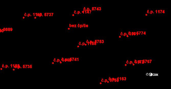 Zlín 5753 na parcele st. 1202/2 v KÚ Zlín, Katastrální mapa