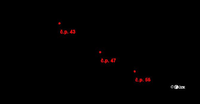 Malé Březno 47 na parcele st. 14 v KÚ Malé Březno, Katastrální mapa