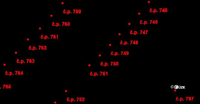 Skuteč 749 na parcele st. 1288 v KÚ Skuteč, Katastrální mapa