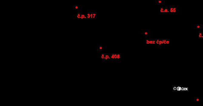 Březno 408 na parcele st. 184/4 v KÚ Březno u Chomutova, Katastrální mapa