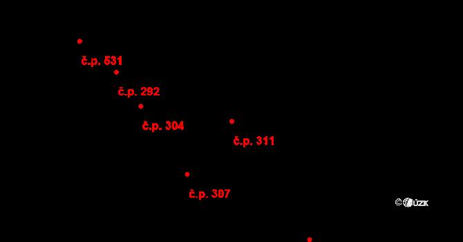 Žirovnice 311 na parcele st. 317 v KÚ Žirovnice, Katastrální mapa