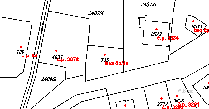 Zlín 43473296 na parcele st. 705 v KÚ Zlín, Katastrální mapa