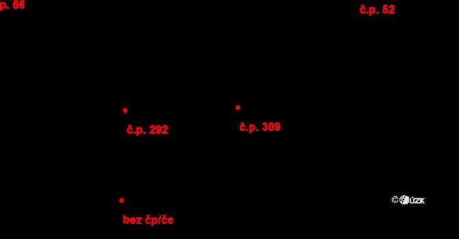 Michle 309, Praha na parcele st. 487/1 v KÚ Michle, Katastrální mapa