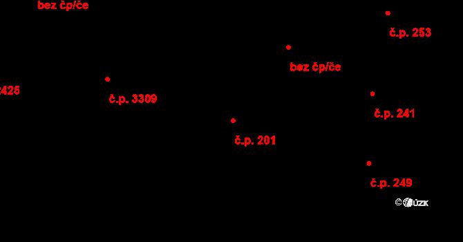 Strašnice 201, Praha na parcele st. 2027/1 v KÚ Strašnice, Katastrální mapa