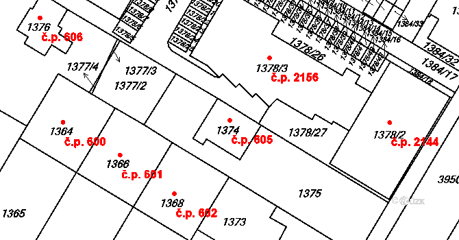České Budějovice 7 605, České Budějovice na parcele st. 1374 v KÚ České Budějovice 7, Katastrální mapa