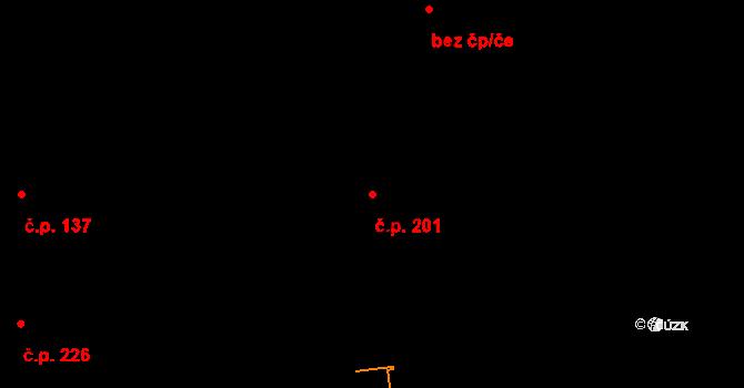 Studánka 201 na parcele st. 106 v KÚ Studánka u Tachova, Katastrální mapa