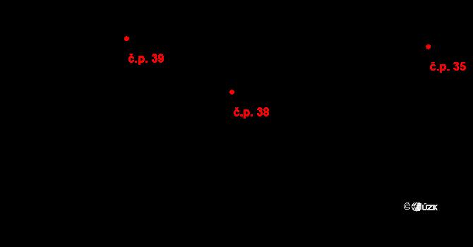 Mokrá Lhota 38, Nové Hrady na parcele st. 22 v KÚ Mokrá Lhota, Katastrální mapa