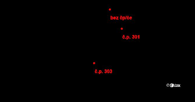 Luka nad Jihlavou 303 na parcele st. 362 v KÚ Luka nad Jihlavou, Katastrální mapa