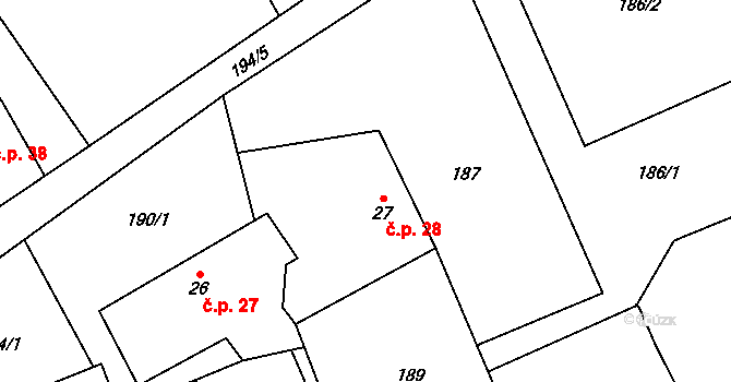Předboř 28, Choustník na parcele st. 27 v KÚ Předboř u Choustníku, Katastrální mapa