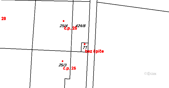 Kojatín 96048301 na parcele st. 71 v KÚ Kojatín, Katastrální mapa