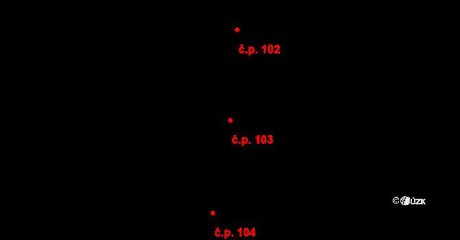 Čestice 103 na parcele st. 147 v KÚ Čestice u Častolovic, Katastrální mapa