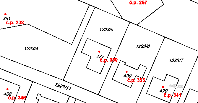 Doksy 350 na parcele st. 477 v KÚ Doksy u Kladna, Katastrální mapa
