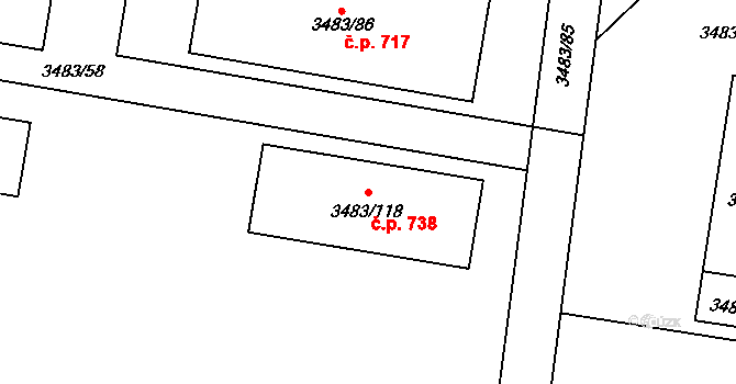 Vyškov-Předměstí 738, Vyškov na parcele st. 3483/118 v KÚ Vyškov, Katastrální mapa