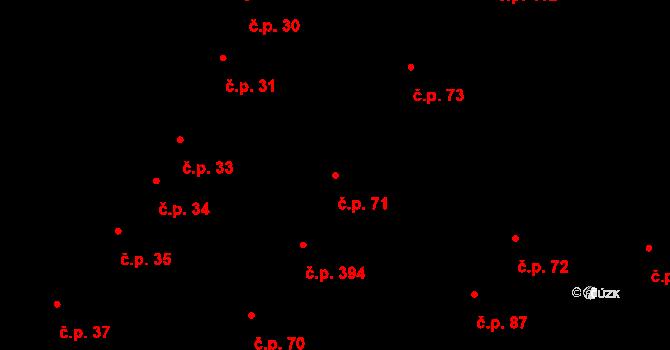 Podivín 71 na parcele st. 872 v KÚ Podivín, Katastrální mapa